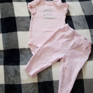 EUC Girls Pink Love you Set - 3 month